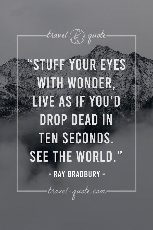 Stuff your eyes with wonder, live as if you'd drop dead in ten seconds. See the world.
