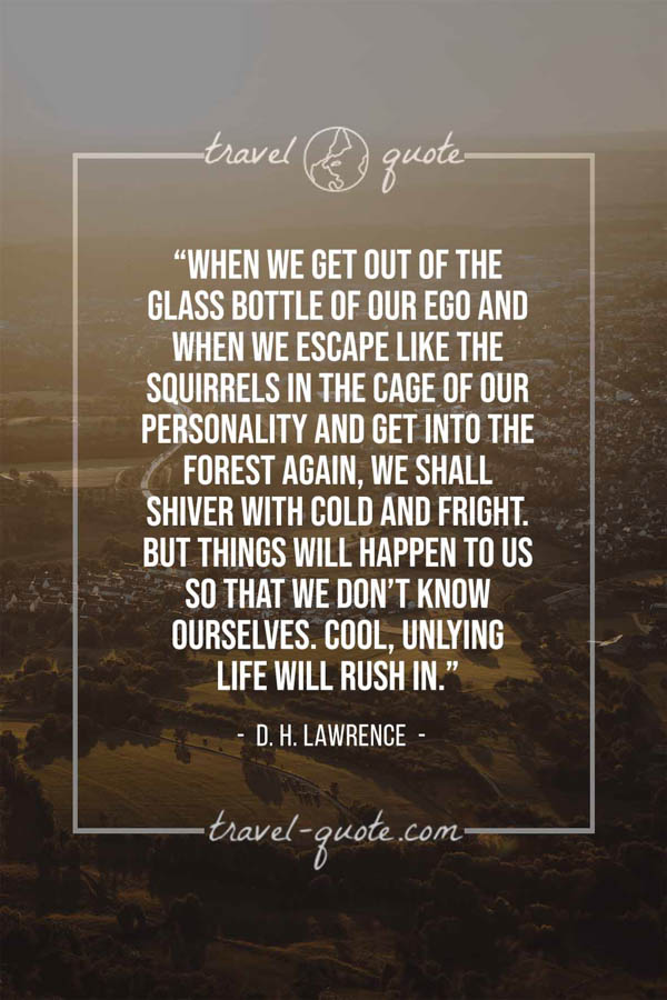 When we get out of the glass bottle of our ego and when we escape like the squirrels in the cage of our personality and get into the forest again, we shall shiver with cold and fright. But things will happen to us so that we don't know ourselves. Cool, unlying life will rush in. – D. H. Lawrence